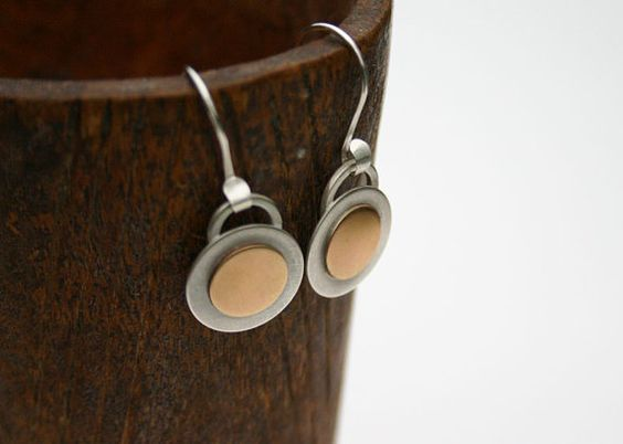 Mixed metal round circle disc earrings. by JaneFullerDesigns