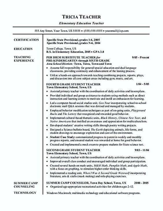 Teacher Resume Elementary School Teacher Sample Resume Classroom Teacher  Resume Samples