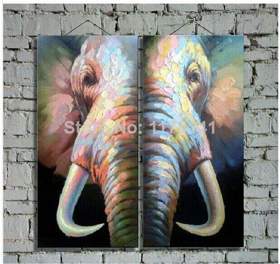 Original High Quality Elephant Oil Paintings on Canvas 2pcs/set Decoration Oil Wall Art Paints in Hotel Reastaurant Office Home