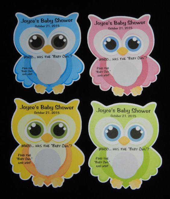 """Unique Personalized Baby Shower """"Whoo has the """"Baby Owl"""" 1 Scratch Off Lotto Game Card, shape of Owl Pink, Blue, Green or Yellow on Etsy, $5.99"""