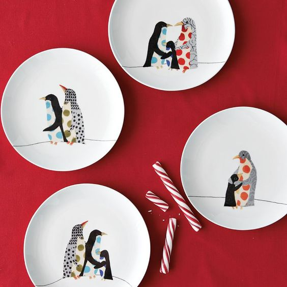 Penguin plates & Penguin plates | Penguin Stuff | Pinterest | Cas Dessert plates and ...