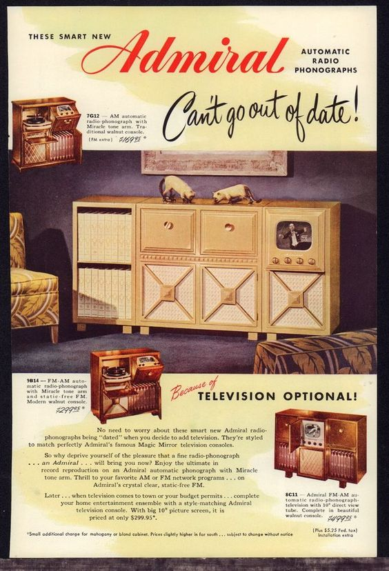 1948 ADMIRAL 7G12, 9B14, 8C11 Console TV Television AM FM Radio Phonograph AD