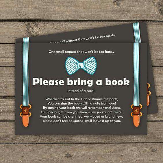 Bring a book instead of a card! Love this idea. Baby shower.
