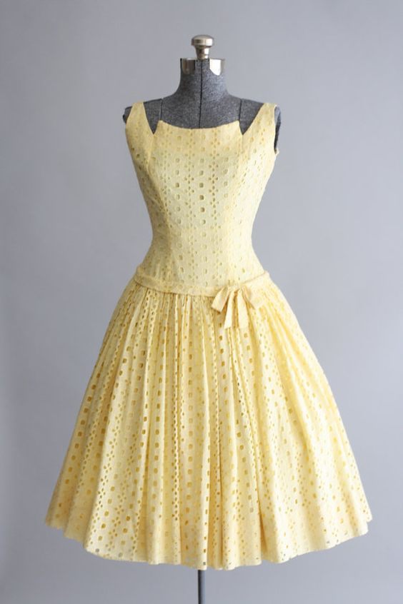 Vintage 1950s Dress / 50s Cotton Dress / Gigi Young Yellow Eyelet ...