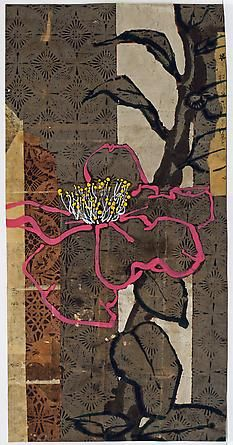 "Robert Kushner, ""O Camellia Cousin of Tea, Gray Byobu,"" 2014, oil, acrylic, gold leaf and collage on paper, 36"" x 18"":"