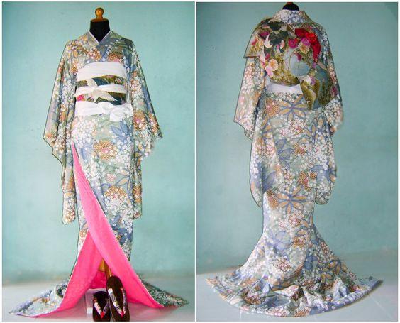 Japanese Traditional Uchikake Wedding Kimono with Elegant Obi. $457.00, via Etsy.