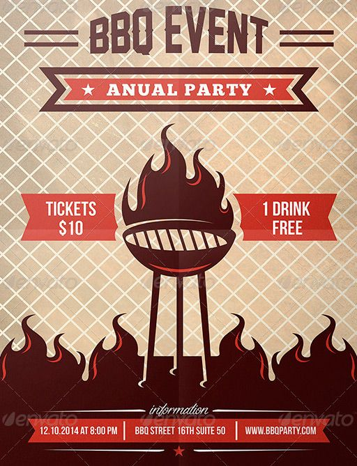 Southern BBQ Flyer Template | Fonts, Festivals and Flyer template