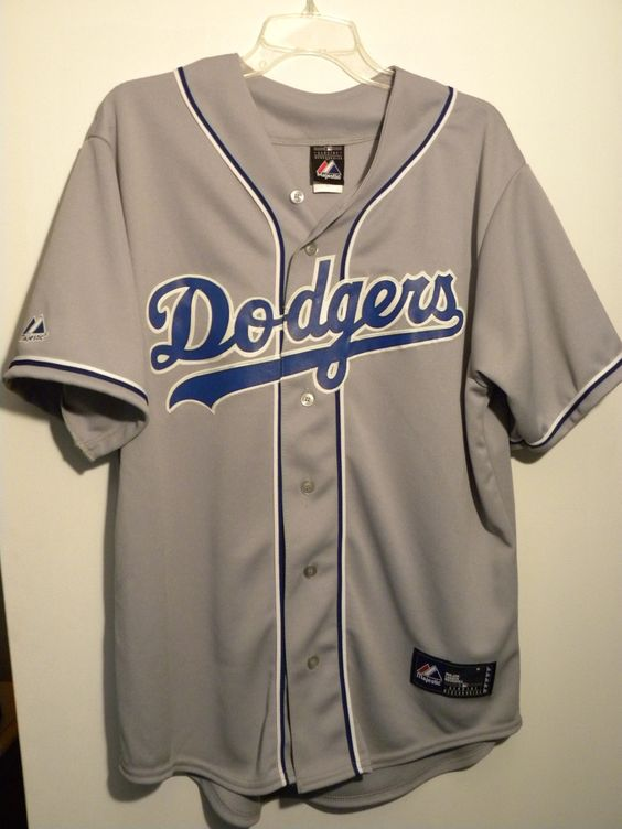 Los Angeles Dodgers 70s 80s style Adult Gray Replica Jersey L Large Magestic MLB