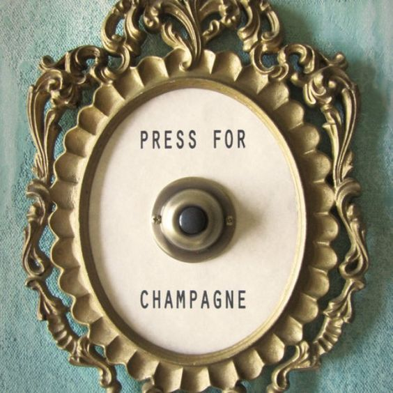 PRESS FOR CHAMPAGNE Framed Vintage Button from Lisa Golightly | Square Market