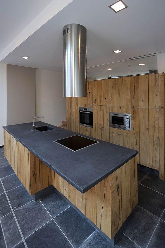 Yves deneyer menuiserie bois plan de travail noir am nagement 2 pinterest diy kitchen for Cuisine noire plan travail bois