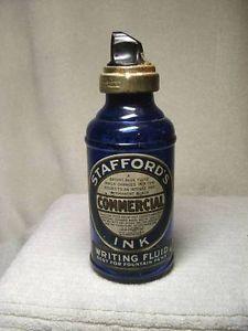 Vintage Ink Bottle Labels   ... Antique Stafford's Commercial Ink Bottle Cobalt Blue Glass Bottle
