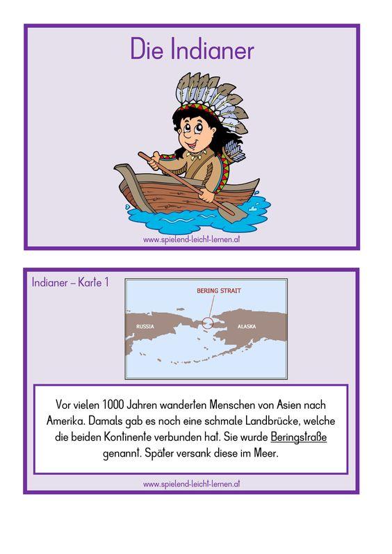 Die Indianer Sachkartei Indianer Kartei Karteikarten