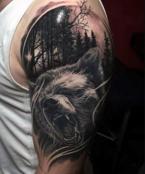 Bear Tattoo On Upper Arm Bear Tattoo Designs Bear Tattoos Animal Tattoos For Men