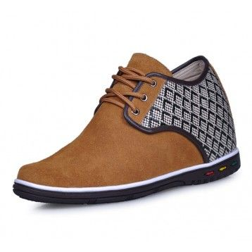Yellow men height increasing casual shoes can be taller 7cm / 2.75inches
