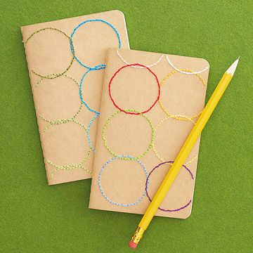 Stitched Notebook...sketch design, tape it down onto notebook cover and pierce along lines leaving holes; Remove pattern and stitch with emb floss