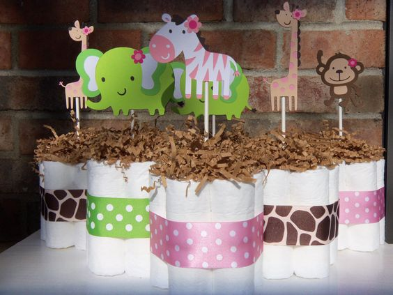 "Diaper Cakes ""Jungle Jill"" Themed-Set of 6 Small Cakes-Baby Shower Gift/Centerpieces. $42.00, via Etsy."