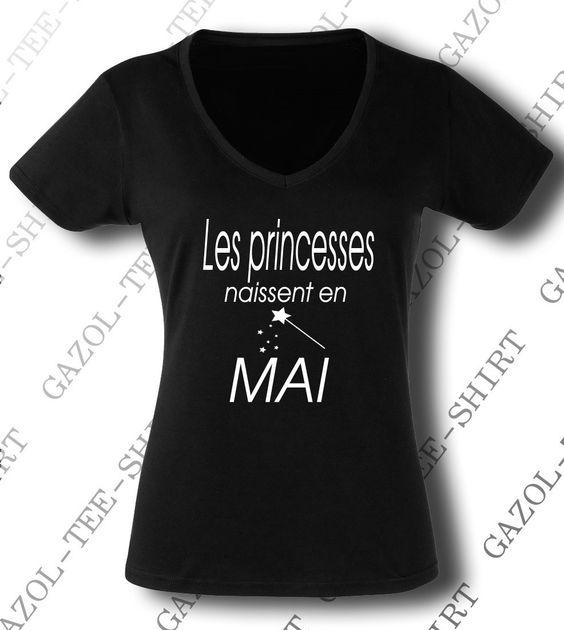 Tee Shirt Les Princesses Naissent En Mai Cadeau Anniversaire Femme