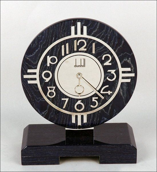 """ART DECO STYLE WOOD AND CHROME DUNHILL MANTLE CLOCK. 10"""" x 8.5"""""""