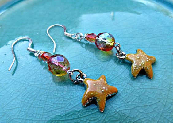 Beach Themed Starfish and Peach/Yellow Czech Glass Earrings  by SparkleCatStudio. 25% of our proceeds benefit animal rescues. Find us on FB: https://www.facebook.com/SparkleCatStudio