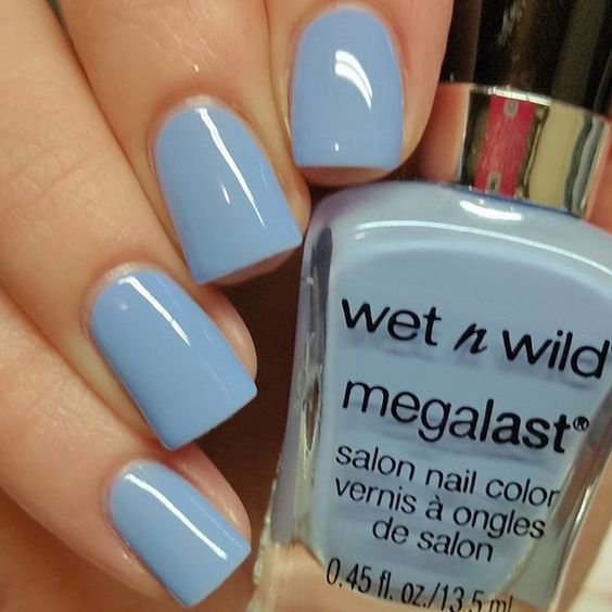 Wet N Wild Megalast Nail Polish Quot Skipping Stones Quot Light Blue Color Pretty Polished Piggies