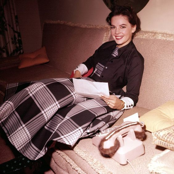Natalie Wood with a fur-lined telephone receiver!