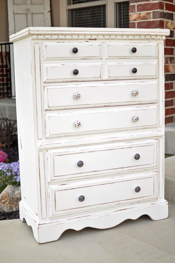 White refinished distressed dresser.  CleverlyCrafty.blogspot.com