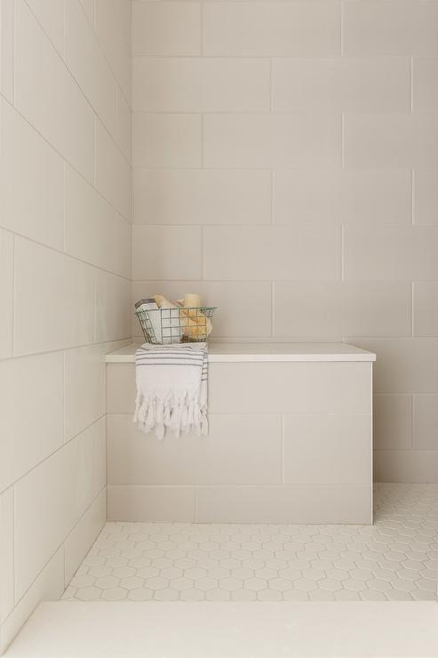 Ivory Hexagon Floor Tiles Frame A Cream Tiled Shower Bench Fitted With A White Quartz Top Fixed In A Corne Bathroom Shower Tile Large Tile Bathroom Shower Tile