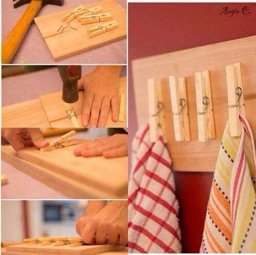 Pinzas para trapos en la cocina