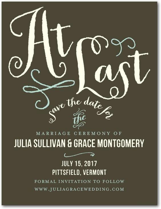 At Last - Save the Date Postcards in Dark Gray or Charcoal   Jenny Romanski