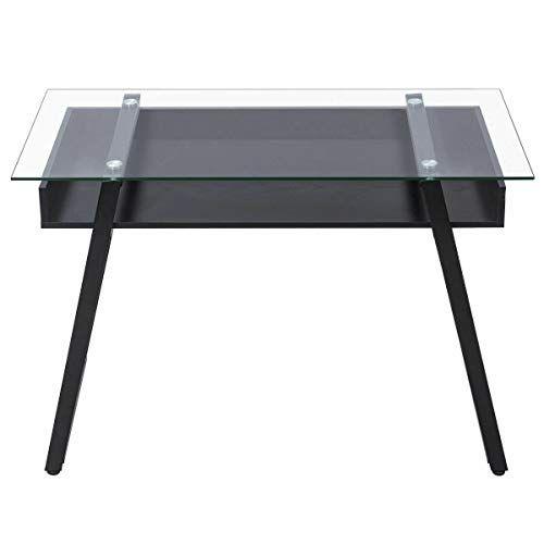 New Patio Garden Furniture Glass Top Computer Desk Pc Laptop