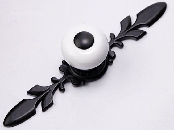 Black White Ceramic Cabinet Knobs W Metal Back Plate By