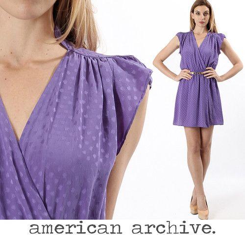 Vtg 70s Silk Shadow Dot Deep V Wrap Party Boho Drape Secretary Dolly Mini Dress   eBay $72