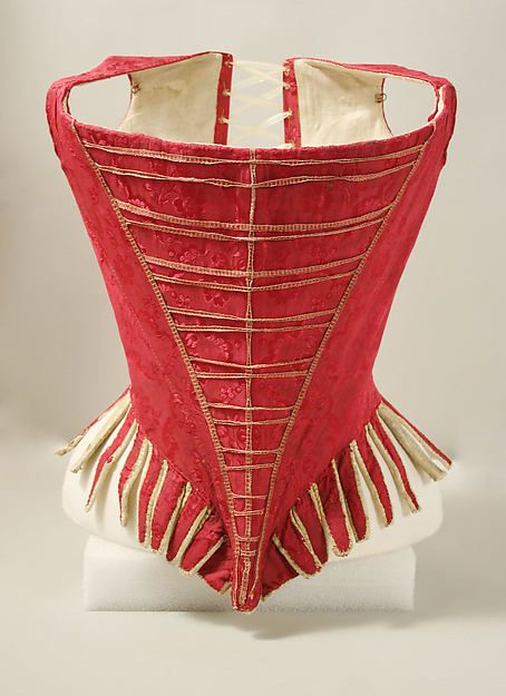 Bodice (stays), Europe, 1775-1789. Dark pink silk damask, linen lining.