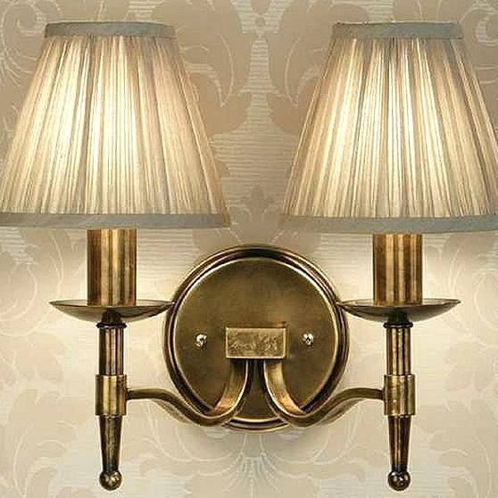 Sanford Double Wall Light Antique Brass With Shades In 2020 Double Wall Lights Wall Lights Brass Wall Lamp