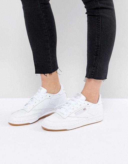 üppiges Design Leistungssportbekleidung doppelter gutschein Reebok Classic Club C 85 Sneakers In White Leather With Gum ...