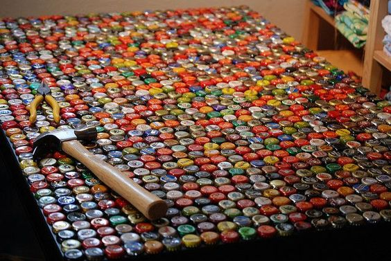 Instructions making a bottle cap table https www for Beer cap bar top