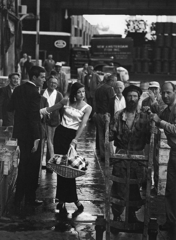 Anne St. Marie and Bob Smith, Fulton Fish Market, New York, 1958 by Jerry Schatzberg