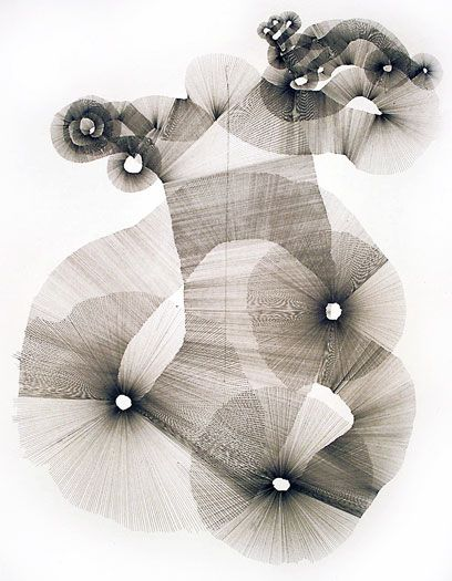 Untitled, 2000: Pencil on paper; A continuous ribbon of straight lines drawn using a ruler