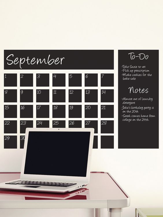 Chalkboard Self Adhesive Vinyl Wall Decal Removable And Repositionable Without Damaging Walls Chalkboard Calendar Chalkboard Wall Calendars Calendar Decal