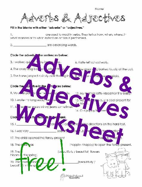 Adverbs Adjectives Worksheet Adjective Worksheet Adjectives Adverbs Free adjective worksheet for grade