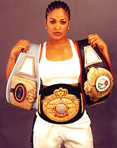 Laila Ali, daughter of Muhammed Ali and professional boxer. Her boxing record includes 24 Wins (21 by knockouts), 0 Losses. She was twice named Super Middleweight Champion.