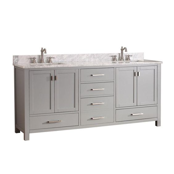 Avanity Modero 72 In Double Vanity Cabinet Only In Chilled Gray Modero V72 Cg The Home Depot Vanity Combos Bathroom Vanity Combo Avanity Modero