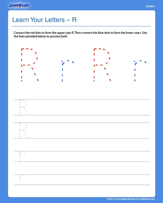Learn Your Letters - R - Free Preschool Writing Worksheet -- good ...