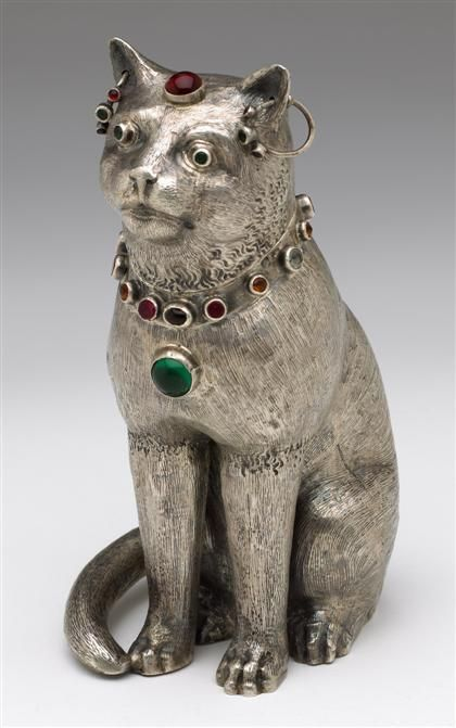 Continental Silver cat-form teacaddy  19th Century   Freeman's, Fine English and Continental Furniture and Decorations, Philadelphia, Oct 5th