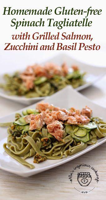 ... free grilled salmon basil salmon spinach pasta pesto pasta glutenfree
