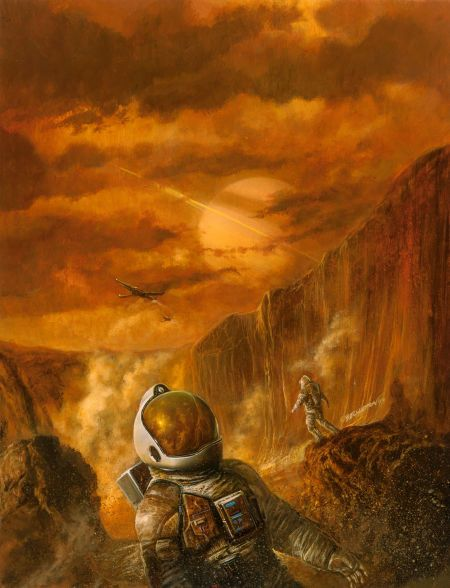 """Bob Eggleton painting """"Exploring the Red Planet"""" cover of The Magazine of Science Fiction Adventures, Issue #2, Spring 1995"""