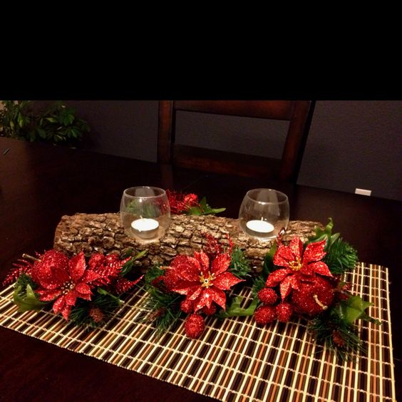 Christmas centerpiece with candles greenery
