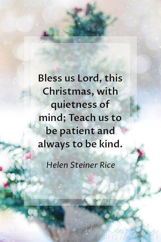 Christmas Quotes | Bless us Lord, this Christmas, with quietness of mind; Teach us to be patient and always to be kind. ~ Helen Steiner Rice