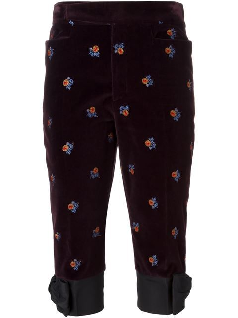 MAISON MARGIELA Velvet Embroidered Trousers. #maisonmargiela #cloth #trousers