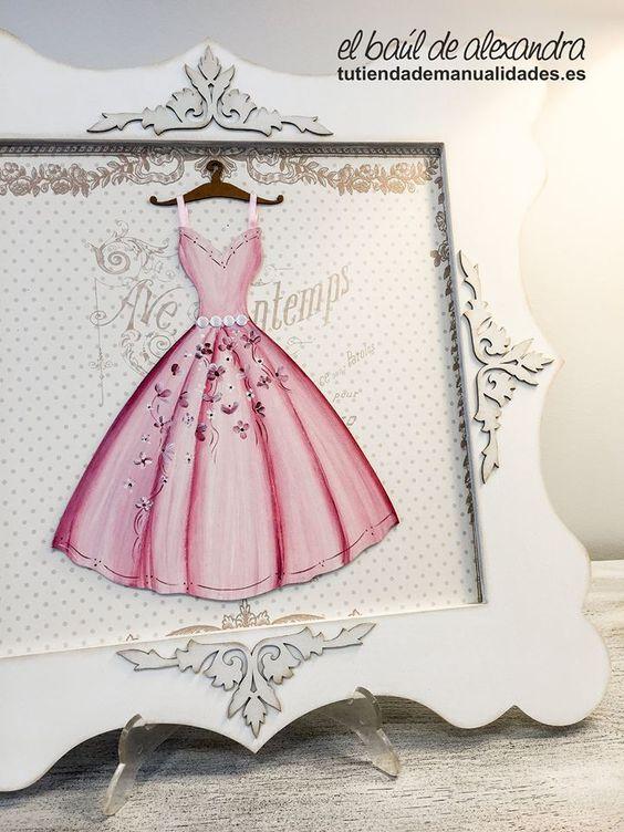 Cuadro con silueta de vestido realizado con pintura papel - Manualidades con cuadros ...
